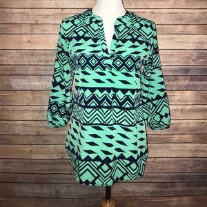 Adrienne Tops - green + dark blue blouse