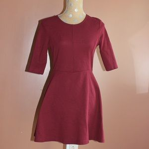 Topshop maroon fit and flare mini dress