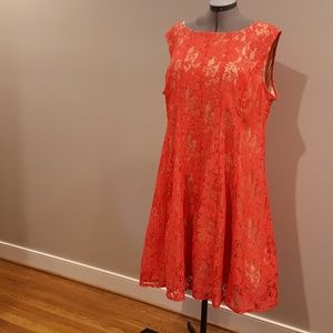 Melonie Coral Pink and Nude Lace Dress NWOT.