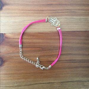 Jewelry - SALE 🔥 Gold and pink hamsa (hand) bracelet