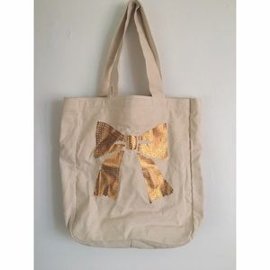 NEW Gold Bow Canvas Tote