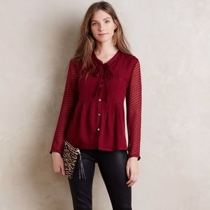Anthropologie Tops - Anthropologie Meadow Rue Clipdot Necktie Blouse