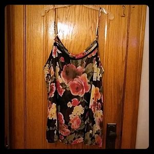 Sheer Flower tank top w/flyaway open back
