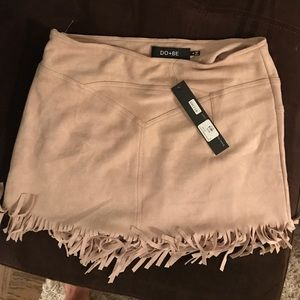 Dresses & Skirts - NWT Suede fringe mini skirt, new with tags!