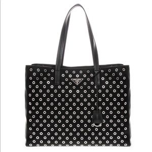 Prada Handbags - Prada Nylon and Leather Grommet Tote Bag