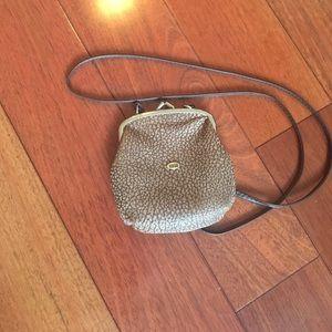 Snap closure crossbody kangaroo skin bag