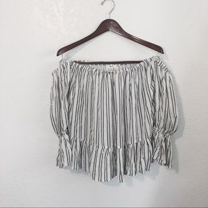 Tops - Off the shoulder striped top