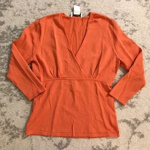 Orange faux wrap sweater top