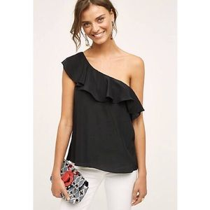 Anthropologie Tops - Anthropologie Maeve One Shoulder Silk Black Blouse