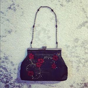 Black beaded floral satin evening clutch purse