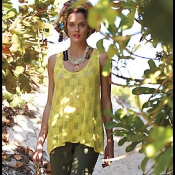 Anthropologie Tops - Deletta Sunny Yellow Lace Tunic swim cover