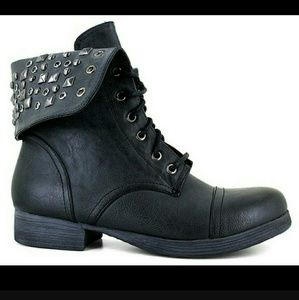 Pink & Pepper Shoes - Black Studded Combat Boots
