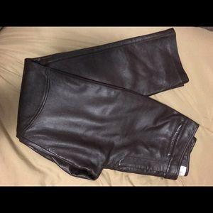 HUGO Pants - Leather Dark Brown ankle pants