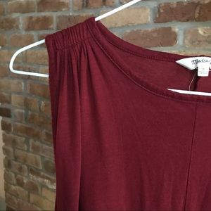 Madewell Gathered Shoulder Harvest Red Swing Top S