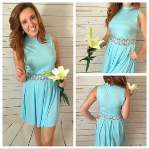 Turquoise Teal Lace Hollow Out Dress