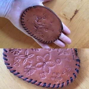 Vintage Bags - Carved Leather Coin Pouch Hippie