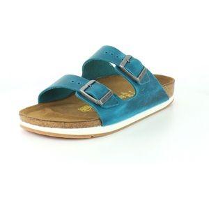 Birkenstock Shoes - Birkenstock oiled leather turquoise sport sandals