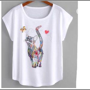 Cat White Cotton T Shirt Top 💋