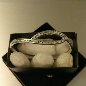 Pretty Serenity Prayer Bangle Bracelet