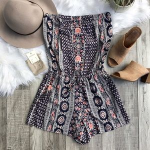 Angie Pants - Navy & Pink Strapless Romper