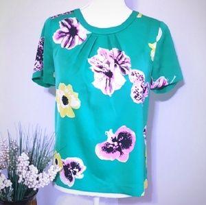 J. Crew | Green Floral Short Sleeve Top