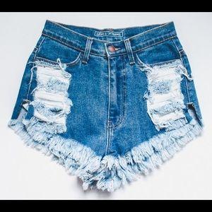 High Waisted Blue Wash Destroyed Denim Shorts