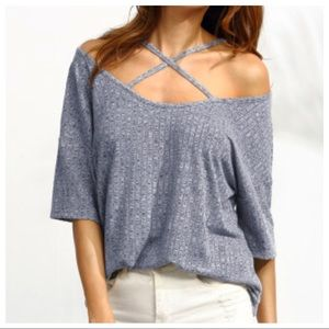 Blue Off The Shoulders Strappy Ribbed Top 💋