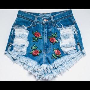 Pants - Rose Printed High Waisted Destroyed Denim Shorts