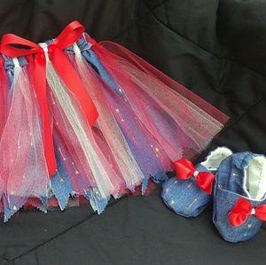 Skirts Popular Brand Little Mass Girls Blue Denim Pink Embellishment Skirt* 3t Easy To Repair