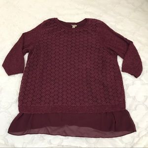 Lucky brand maroon sweater 2X