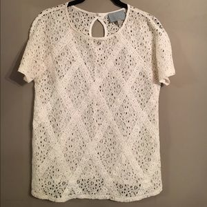 Skies Are Blue Tops - SKIES ARE BLUE White Eyelet Top