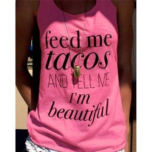 """Pink """"Feed Me Tacos"""" Graphic Racerback Tank Top"""