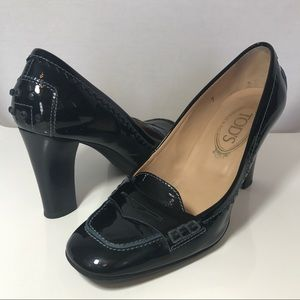 Tod's Shoes - TOD'S - Patent Leather Navy Penny Loafer Pumps