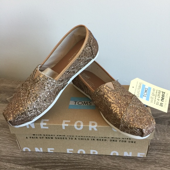 17dfbae2128b Toms Shoes | Classic Rose Gold Lace Glitz | Poshmark