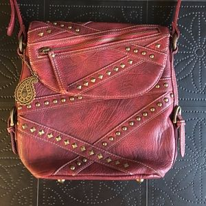 American West Handbags - Bandana Red Leather Studded Leather Purse