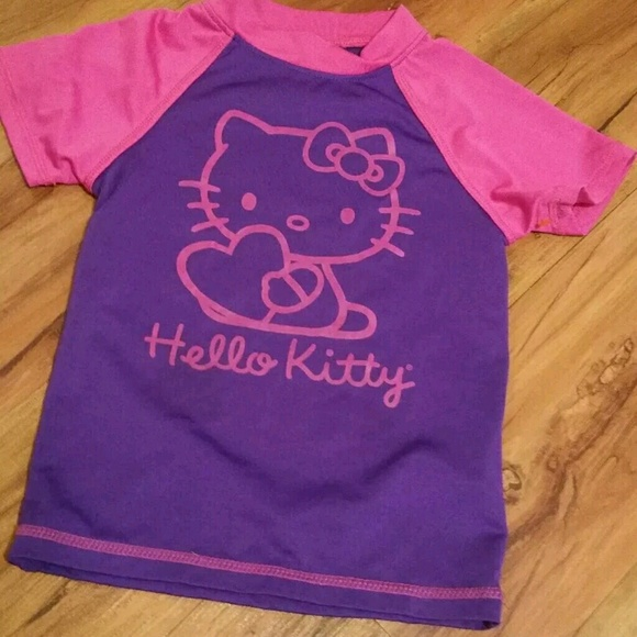 55ee6ff80 Hello Kitty Other - Hello kitty rash guard top girls xs purple pink