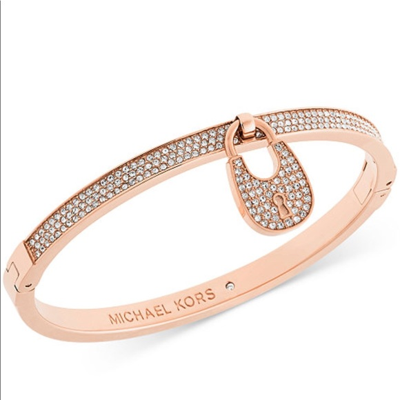 michael kors lock bracelet michael kors nwt michael kors pave lock bangle 5085
