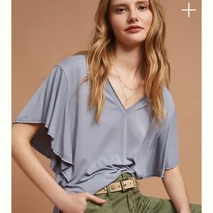 Anthropologie Dolan Flutter Sleeve Blouse.