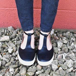 Black T-Strap Sneakers
