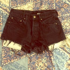 Levi's Pants - Black denim Levi's high waisted shorts
