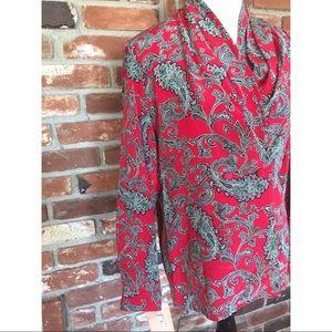 Vtg 80s Silk Paisley Scarf Print Jacket Blazer 4