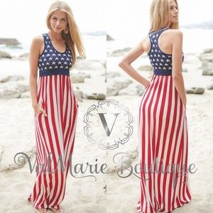 💄2 LEFT!!! Flag Maxi Dress