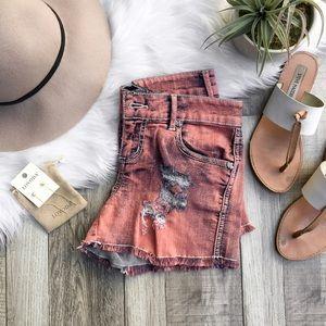 Betsey Johnson Pants - Pink Distressed Denim Shorts