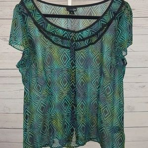 East 5th Tops - Sheer top black button front  size XL