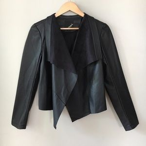 Collection B Jackets & Blazers - Collection B Faux Leather Drape Front Jacket