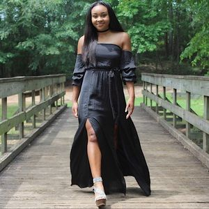Black Double Slit Maxi Dress (Editors Pick)