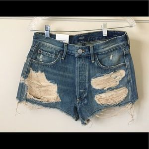 Agolde Pants - AGOLDE Distressed Jean Shorts