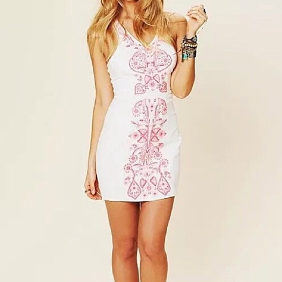 90d4ff645db Free People Dresses   Skirts - FREE PEOPLE Coral Gaze Neon Pink Embroidered  Dress