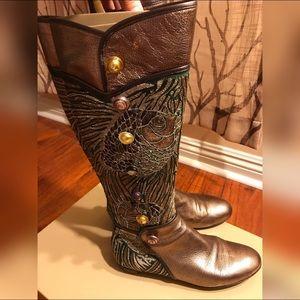 Sergio Rossi bronze high boots
