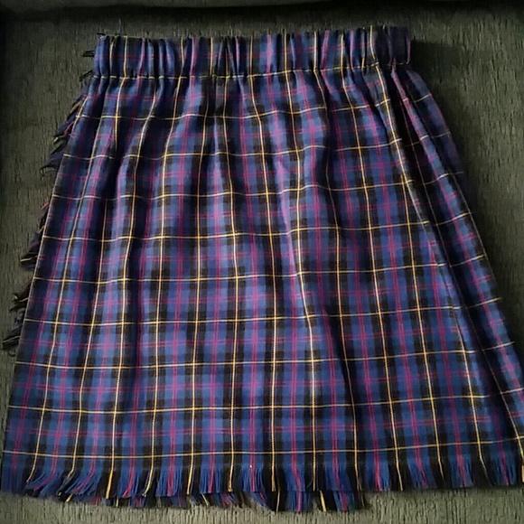 57 dresses skirts royal blue plaid wrap skirt sz